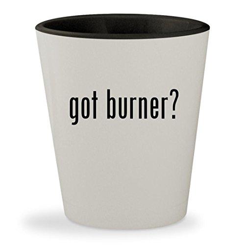 got burner? - White Outer & Black Inner Ceramic 1.5oz Shot Glass (Range Propane Cream)