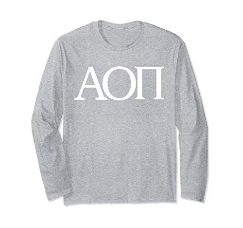 (Unisex Alpha Omicron Pi Long Sleeve Shirt College Fraternity Tee Medium Heather Grey)