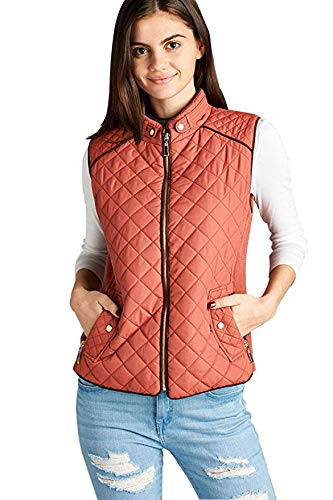 Active USA Quilted Padding Vest With Suede Piping Details Sizes from S to 3XL (Dusty Pink-Large)