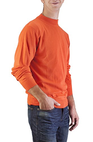 90b92d67bbe2c4 Alberto Cardinali Men's Mock Neck Sweater MC5 (Medium Orange ...