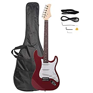 Z ZTDM Full Size 39″ Rosewood Fingerboard Electric Guitar with Gigbag Strap Amp Wire Tremolo Arm Cord for Adult Student Beginner Rosy 41m8aEM5B6L