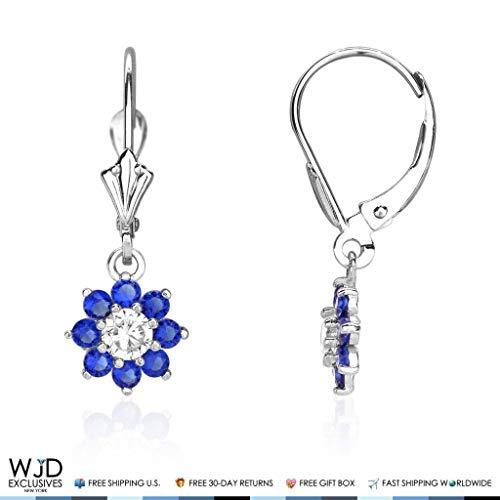 (1Ct Diamond & Sapphire 14K White Gold Flower Cluster Dangle Leverback Earrings)