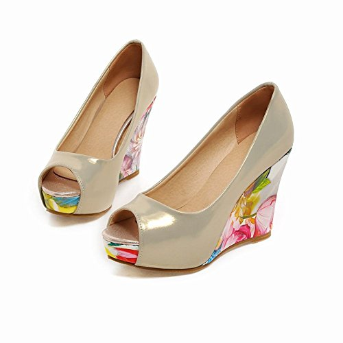 Carol Shoes Women's Elegant Fashion High Heel Flower Patterns Wedge Court Shoes Gold ww2jmuRIs7