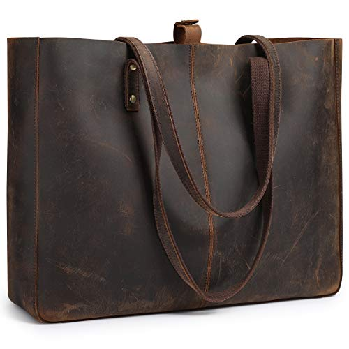 Genuine Leather Tote Bag - S-ZONE Vintage Genuine Leather Shoulder Tote Bag for Women Large Work Handbag Purse with Removable Pouch (Vintage Deep Brown)