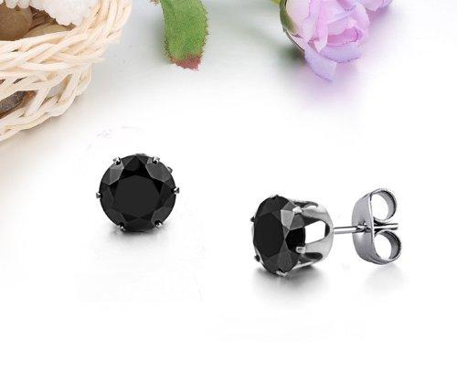 Fekkai New Bijoux Classique Noir Brillant mignon ronde cristal Titanium Boucles d'oreilles diamant en acier inoxydable de charme Stud Cleverish Boucles d'oreilles Pour Hommes / Femmes