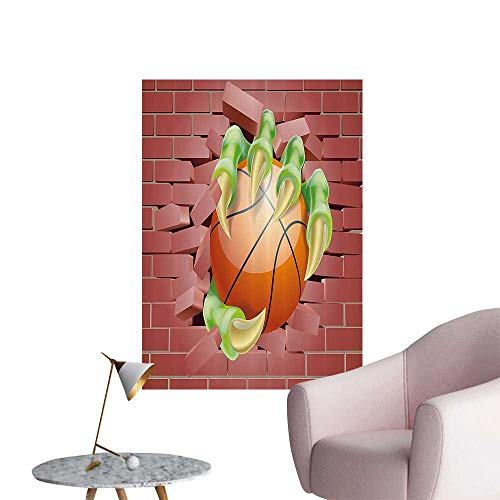 (Wall Stickers for Living Room Claw AST Mster Hand Out Holds Basketball Ball Through Brick Wall Paint Vinyl Wall Stickers Print,16