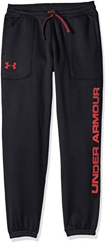 Under Armour Boys' Armour Fleece Branded Joggers,Black /Red, Youth Medium by Under Armour (Image #1)