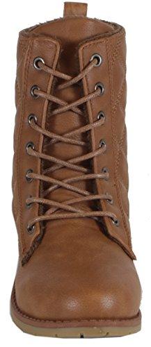 chestilla–einfarbige Mujer Desert Boots con patrón acolchado costuras Botines cordones botas 363738, 39, 40, 41 marrón claro