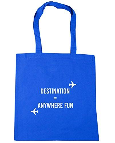 HippoWarehouse destino cualquier lugar diversión bolsa de la compra bolsa de playa 42cm x38cm, 10litros Azul Aciano