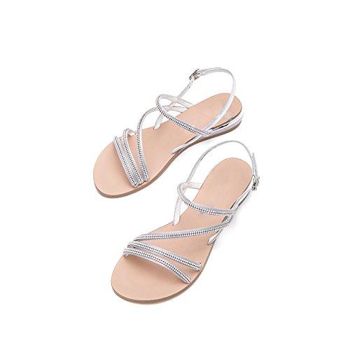 Sandali basso tacco estivi alla Sandali 37 Pantofole alti a Argento da DHG moda con tacco basso donna Tacchi casual Sandali piatti AwFZq0