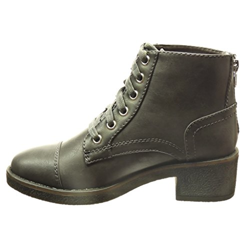 Angkorly Women's Boots Grey High Fashion High Ankle Shoes Laces 5 Block Seams cm 4 Booty cm Finish Topstitching Heel rrwxqRdI