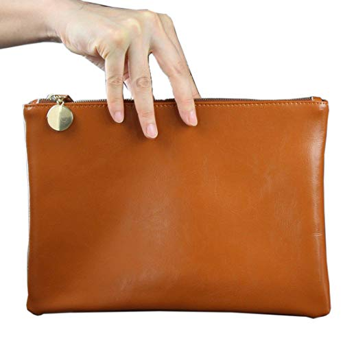 Real Patent Leather Genuine Lambskin Envelope Clutch Hand Bag Black Brown Tan (Brown) ()