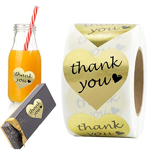 - Thank You Stickers Gold Foil Labels Roll, 1.5