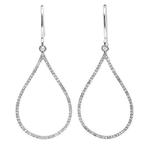 Dazzlingrock Collection 0.21 Carat (ctw) 14K Round White Diamond Ladies Teardrop Earrings 1/4 CT, White Gold
