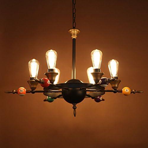 ASL Lámpara de billar, sala de recreo creativo Loft Lámpara de hierro Bar Internet Cafés Sala de billar Decoración Lámparas y linternas 6 cabeza E27, 80 * 55cm cadena colgante 100 cm
