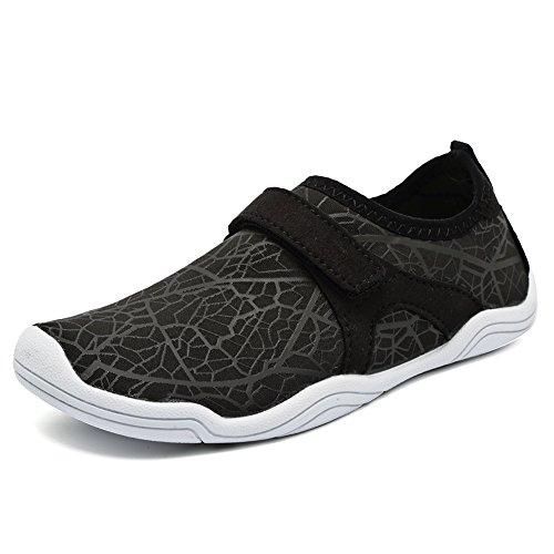 FANTURE Girls & Boys Water Shoes Lightweight Comfort Sole Easy Walking Athletic Slip on Aqua Sock(Toddler/Little Kid/Big Kid) U4JSX001-W.black-31