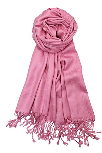 Achillea Large Soft Silky Pashmina Shawl Wrap Scarf in Solid Colors (Dusty Pink)