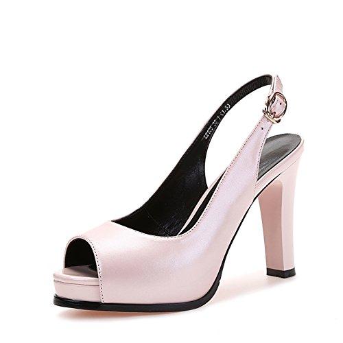 Salvaje zapatos de fondo grueso/Sandalias de cuero gruesas/Boca de pescado a prueba de agua tacones altos C
