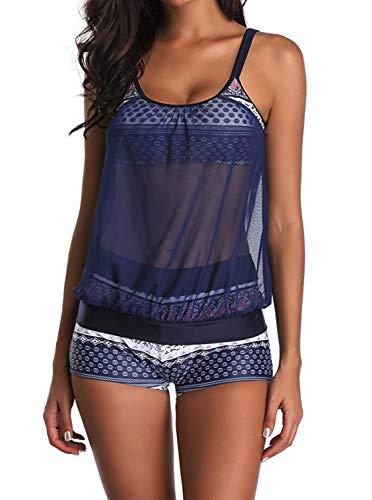GEEK LIGHTING Women Girls 2 Piece Swimsuits High Waisted Bathing Suits Bikini Set (New-Blue, Large)