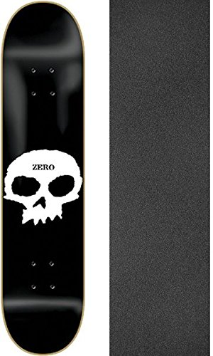 "Zero Skateboards Single Skull Skateboard Deck - 8"" x 32"" with Mob Grip Perforated Black Griptape - Bundle of 2 Items"
