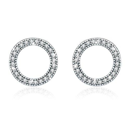 (WOSTU Open Circle Stud Earring 925 Sterling Silver Cubic Zirconia Earrings Women Girls Disc Stud Earrings Hypoallergenic Earrings Piercing Fashion Earring)