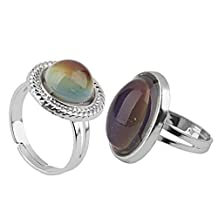 Dovewill 2 Pieces/ Lot Vintage Oval Mood Ring Emotion Feeling Color Changing Adjustable Size Men Women Fancy Ring Jewelry
