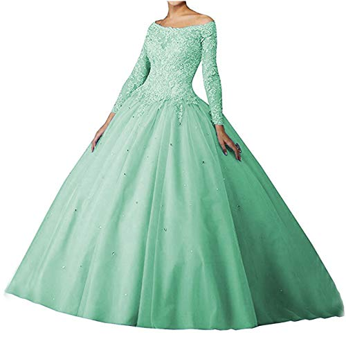 Scarisee Women's Long Sleeves Off Shoulder Ball Gown Prom Quinceanera Dresses Lace Appliqued Evening Party Gowns Aqua 10