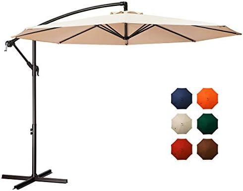MEWAY 10ft Outdoor Umbrella Backyard Umbrella Deck Umbrella Cantilever Patio Umbrella with Crank Cross Base, Easy to Instal 10ft, Beige