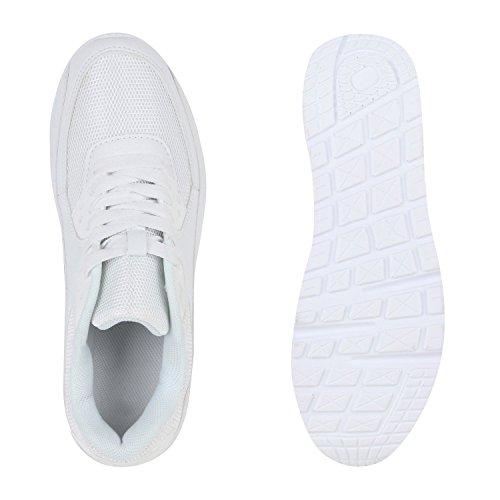 Japado Knallige Damen Herren Unisex Sportschuhe Auffällige Neon-Sneakers Sportlicher Eyecatcher Alltags-Look Angenehmer Tragekomfort Gr. 36-45 Weiß