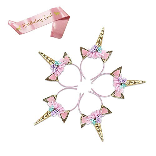 (Slightdot 5Pcs Unicorn Headbands and 1Pcs Satin Sash Set, Unicorn Birthday Party Supplies Gift for Girls)