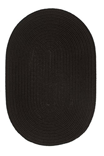 Super Area Rugs, Maui Braided Indoor Outdoor Rug Washable Reversible Black Patio Porch Kitchen Carpet, 3' X 5' Oval (Black Oval Braided Rug)
