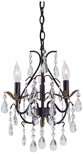 (Minka Lavery 3122-301 3 Light Mini Chandelier, Castlewood Walnut with Silver Highlights Finish, 12
