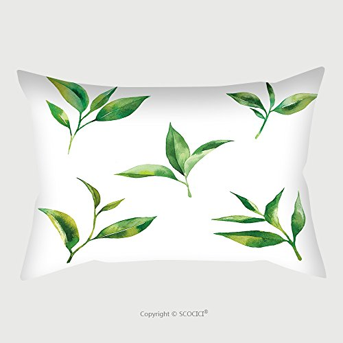Custom Satin Pillowcase Protector Watercolor Set With Tea Leaves On White Background 378761308 Pillow Case Covers Decorative by chaoran