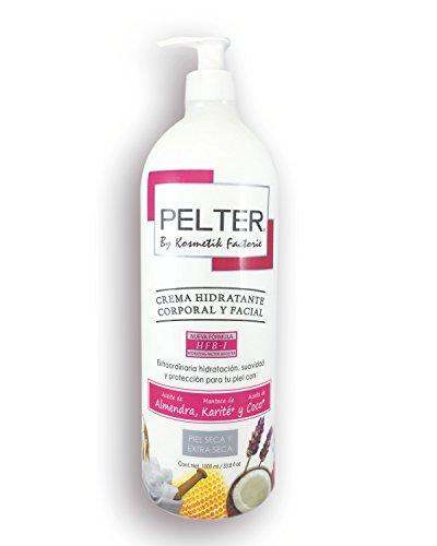 Crema Pelter Hidratante Corporal y Facial con Aceite de Almendras, Manteca de Karité y Aceite de Coco Orgánico 1 lt
