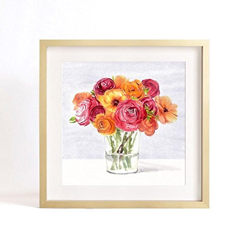 flower-art-print-of-original-watercolor-painting-7x-7-silent-as-enigma-series-glass-and-rose-bouque