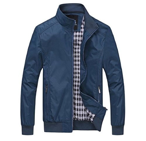 Fit Coat Howme Autumn Oversized Men Jacket Blue Front Zip Business Relaxed 0WSAURnW1