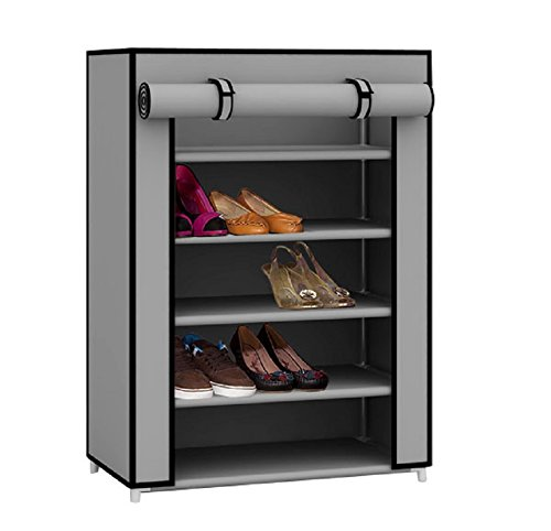 Sunbeam Multipurpose Portable Wardrobe Storage Closet For Shoes and Clothing 5 Tier/Fits 15 Pairs of Shoes Heavy Duty Non Woven Material Gray With Roll Down Cover (Grey) ()