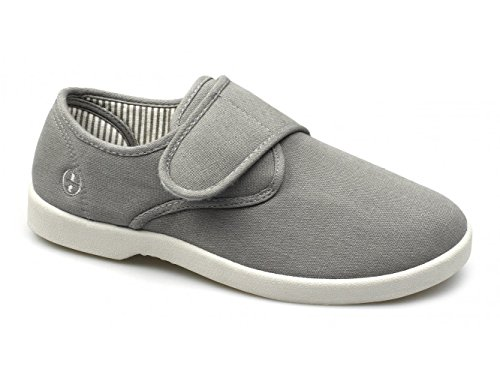Dr Keller Rob Mens Canvas Wide Velcro Deck Shoes Grey Grey