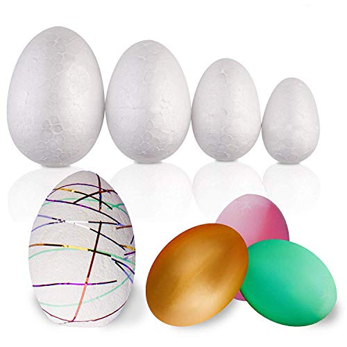 50 Pack - Large Set Assorted Styrofoam Easter Eggs - Variety of Sizes - Ideal Easter Children Arts & Craft Gift for Cutting, Shaping & Painting Decorations -