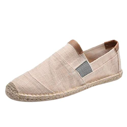 Men's Breathable Canvas Shoes, Casual Sewing Slip On Driving Boat Shoes Flat Loafers Straw Sandals Shoes US Size 7-10 (Beige, US:9)