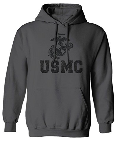 USMC Marine Corps Big Logo Black Seal United States of America USA American Hoodie (Charcoal, X-Large)