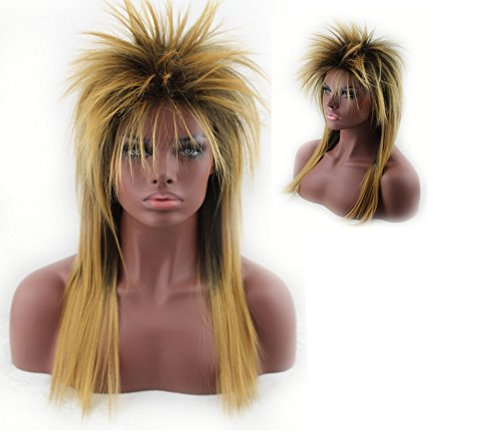 TUOBU Ladies Punk Rock Chick Wig Long Straight Hair - (Rock Chicks Costume)