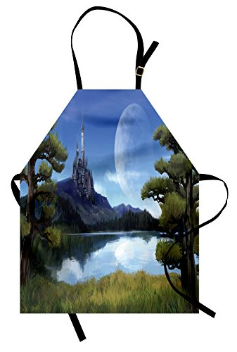 Ambesonne Fantasy Apron, Moon Surreal Scene with Riverside Lake Forest and Medieval Castle on Hill Art, Unisex Kitchen Bib Apron with Adjustable Neck for Cooking Baking Gardening, Green and Blue]()