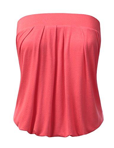 DRESSIS Womens Basic Sleeveless Pleated Tube Top