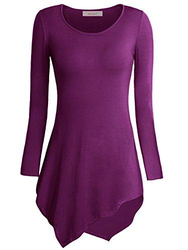 WAJAT - Camiseta Top para Mujer Bajo Asimetrico Morado