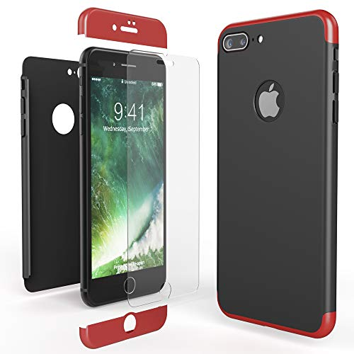 - NALIA Full Body Case Compatible with iPhone 8 Plus, Protective Front and Back Phone Cover with Tempered Glass Screen Protector, Slim Shockproof Smartphone Bumper Ultra-Thin, Color:Red Black