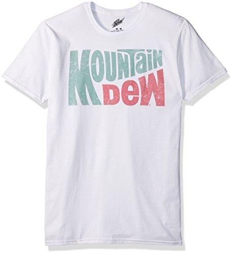 (Mountain Dew Men's Slanted Logo Short Sleeve T-Shirt, White, Medium)