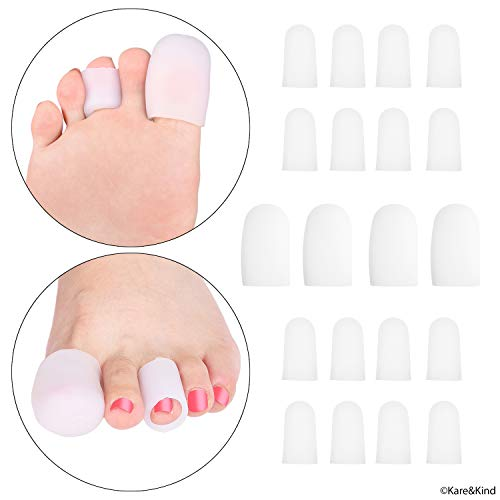 Toe Tube Caps - 20 Soft Silicone Sleeves - Offers Pain/Friction/Pressure Relief - Ideal for Bunions, Blisters, Corns, Callus Problems, Toenail Loss, Ingrown Toenails, Hammer Toes - Adjustable Size