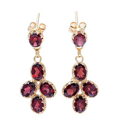 NOVICA Garnet 22k Gld Vermeil Dangle Earrings, Regal Dance' ()