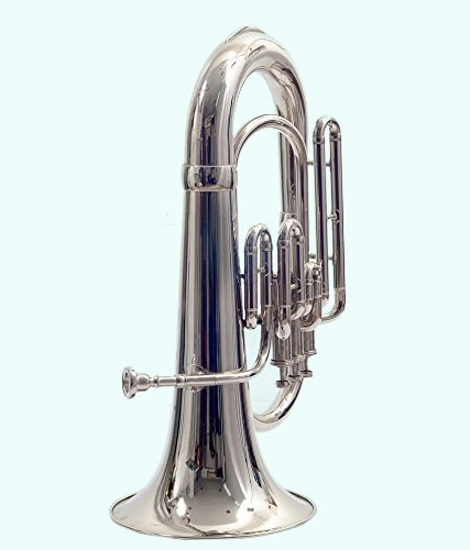Global Art World Top Quality Euphonium Chrome Finish Along With Case Mouthpeice Silver MI 095 by Global Art World